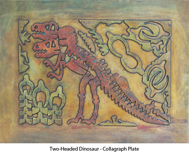 two-headed-dinosaur-collagraph-plate