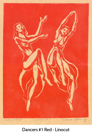 dancers1red-linocut