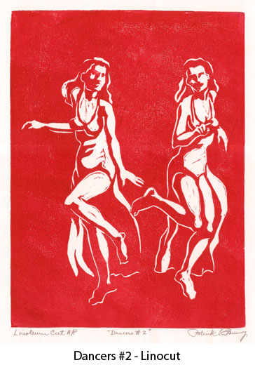 dancers2red-linocut