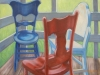 threechairsredwhiteblue-oil1997